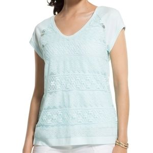 Chico's Pieced Lace Short Sleeve Tee Top 2 / L